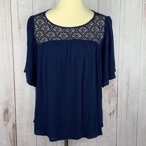Tantrums Navy Shell Lace Boho Top Small